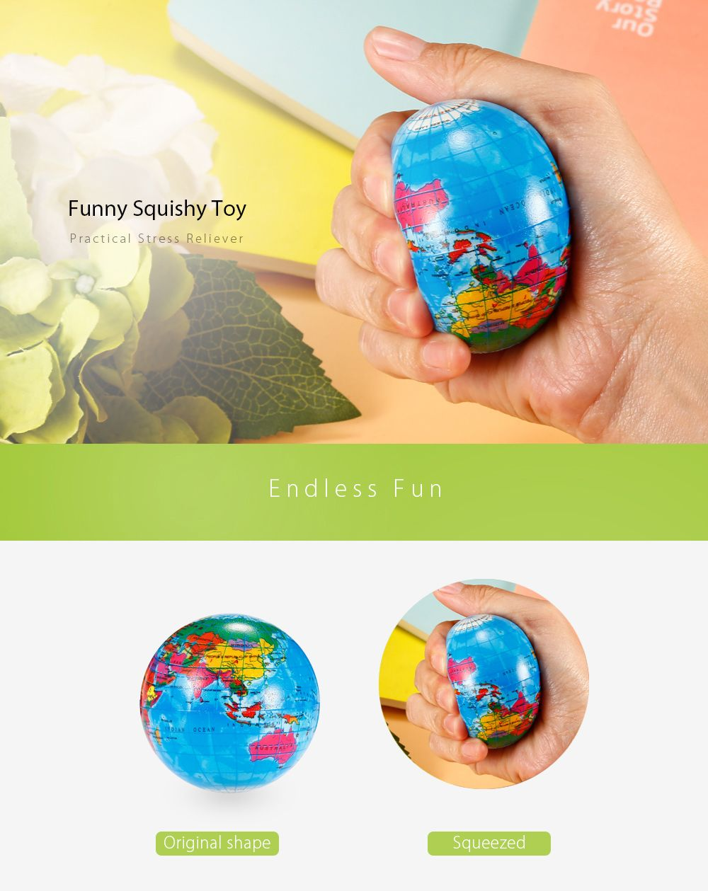 6.3cm Globe PU Foam Squishy Toy Funny Stress Reliever Relaxation Gift