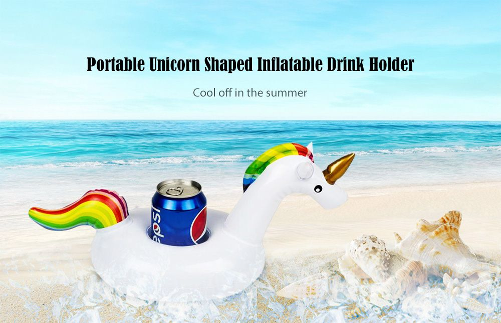 Lovely Inflatable Cup Holder Float Unicorn Shaped Design