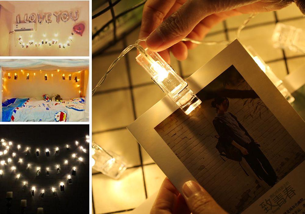 LED 20pc-clip Light String Warm White Lights Decorative Lights