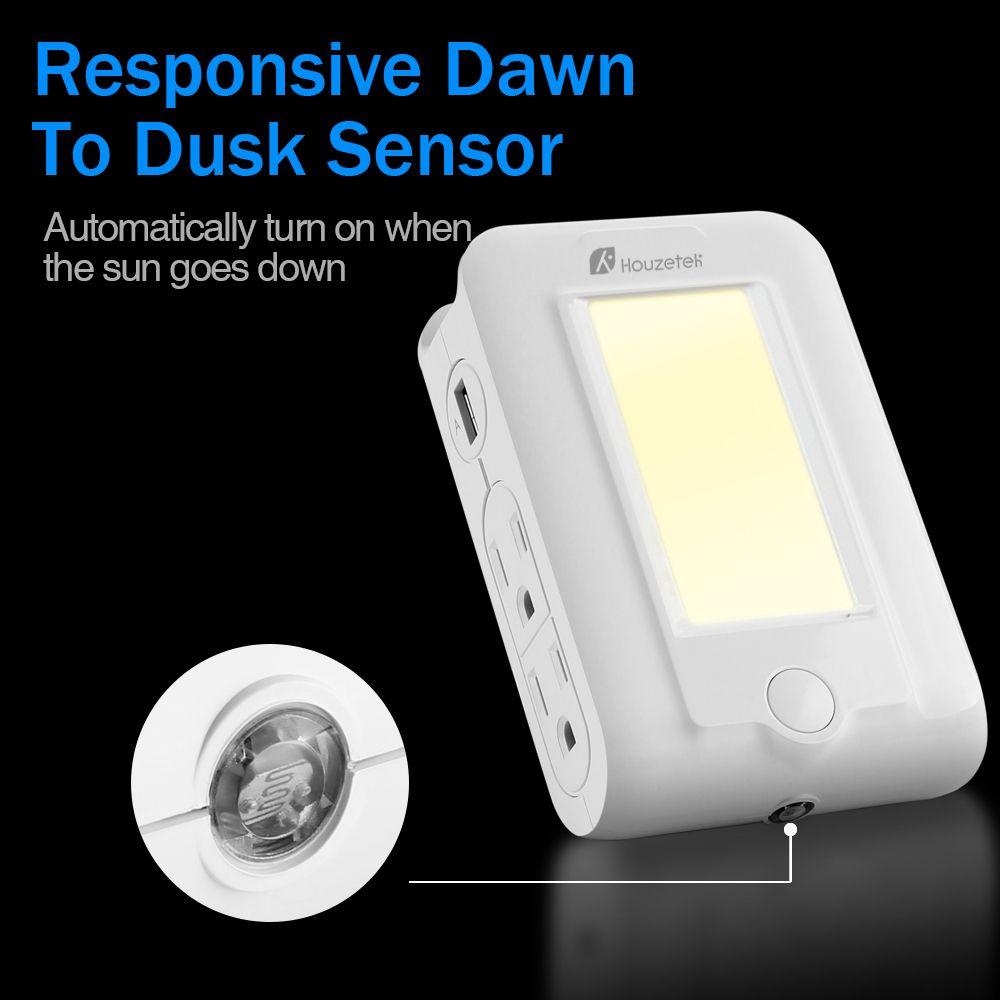 Houzetek Wall Mount USB Charger LED Sensor Night Light