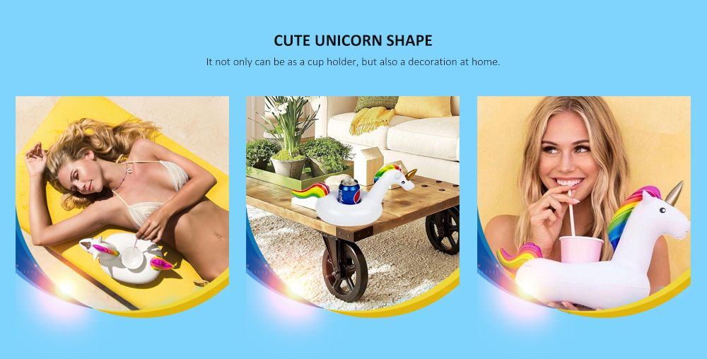 Lovely Inflatable Cup Holder Float Unicorn Shape Mat